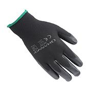 翰辉PE304 13针黑化纤掌浸黑PU手套
