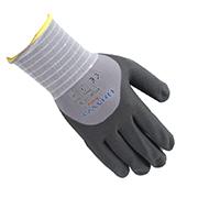 翰辉NY506 15针灰尼龙/莱卡芯3/4浸黑色丁腈超细发泡点珠手套