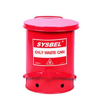 西斯贝尔 WA8109300 防火垃圾桶 10G/37.8L/红色
