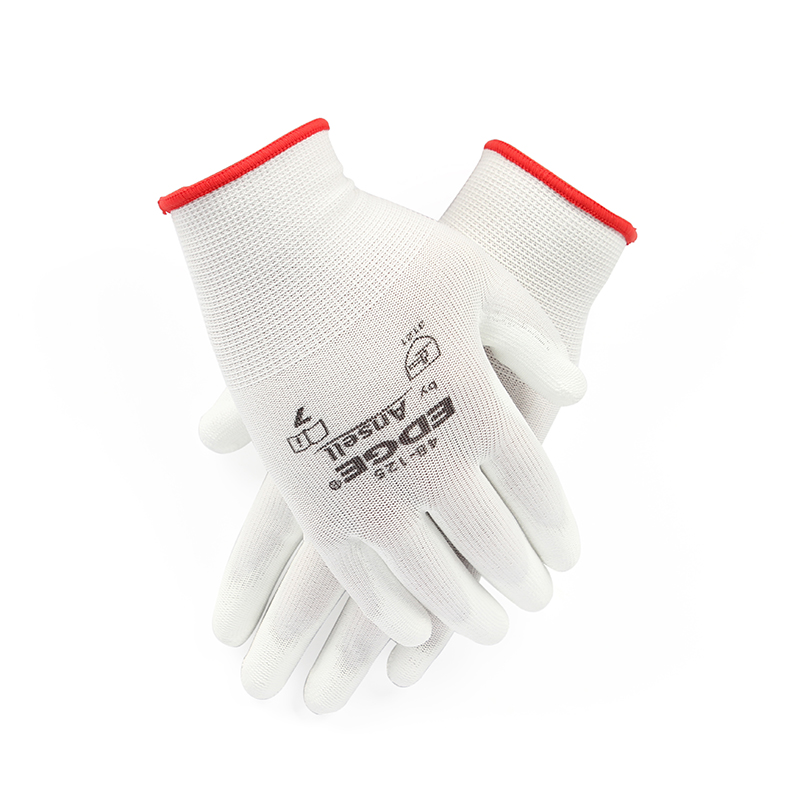 安思尔Ansell 48-125涤纶PU掌部涂层白色手套