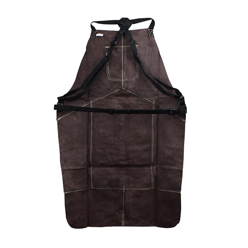 友盟AP-6100 炭啡色全皮护胸围裙 L