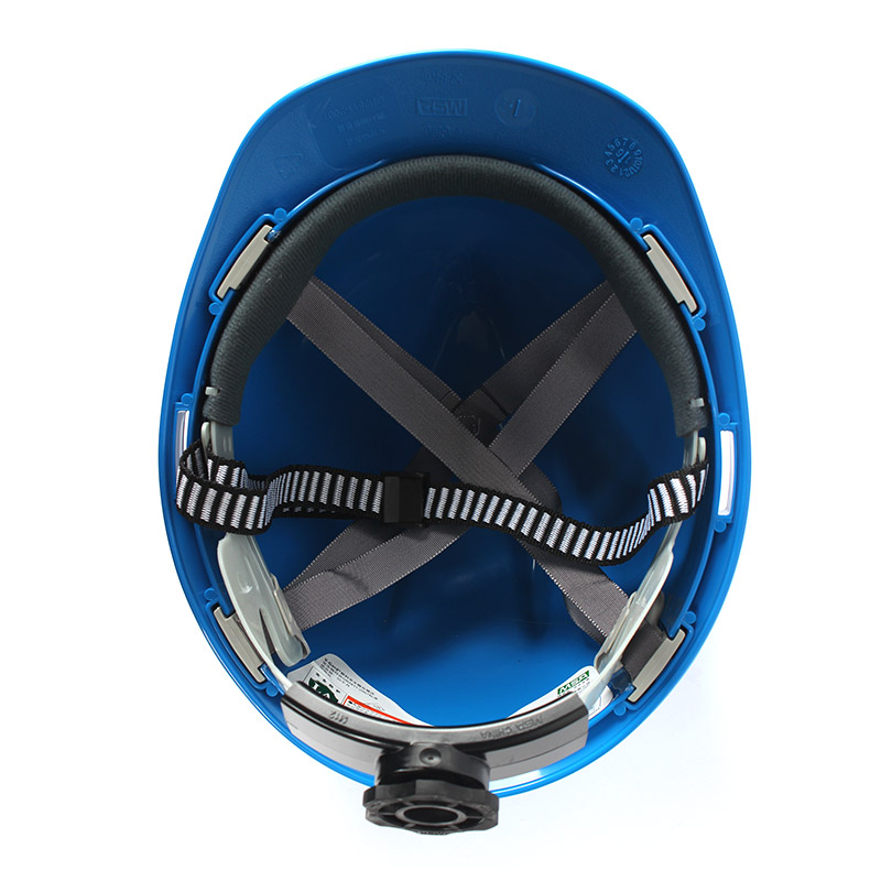 梅思安 9125418标准型ABS蓝色安全帽轻旋风帽衬针织布吸汗带D型下颌带