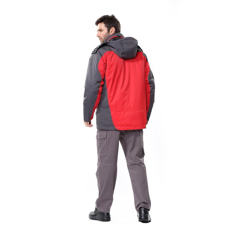 安大叔B300红色拼3M新雪丽高效暖绒防水透湿休闲款防寒服冲锋衣XS