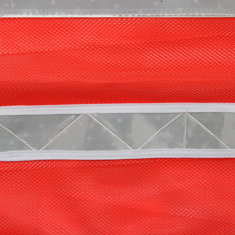 桔红纱网马甲(银色白反光条 前五后三)