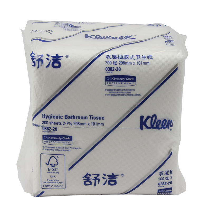 金佰利0382-20 舒洁双层抽取式卫生纸