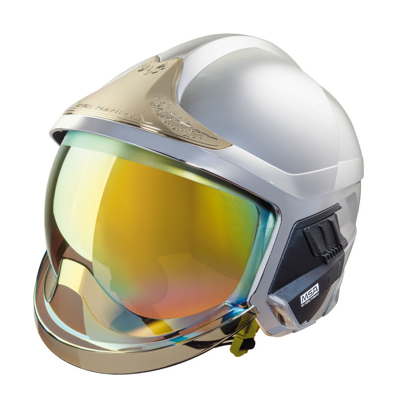 梅思安10166682 消防头盔 F1XF 中号 镍色 带照明模组