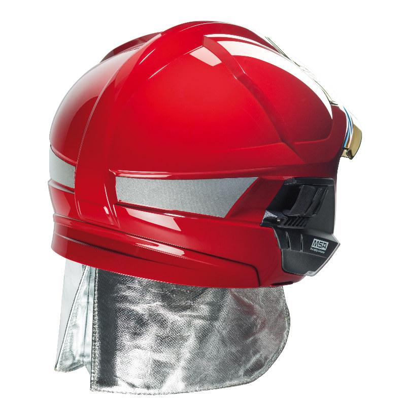 梅思安10158866 消防头盔 F1XF 中号 红色 带照明和支架