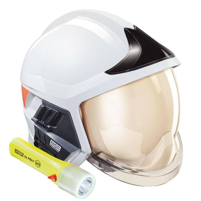 梅思安10158868消防头盔 F1XF 中号 白色 带电筒支架