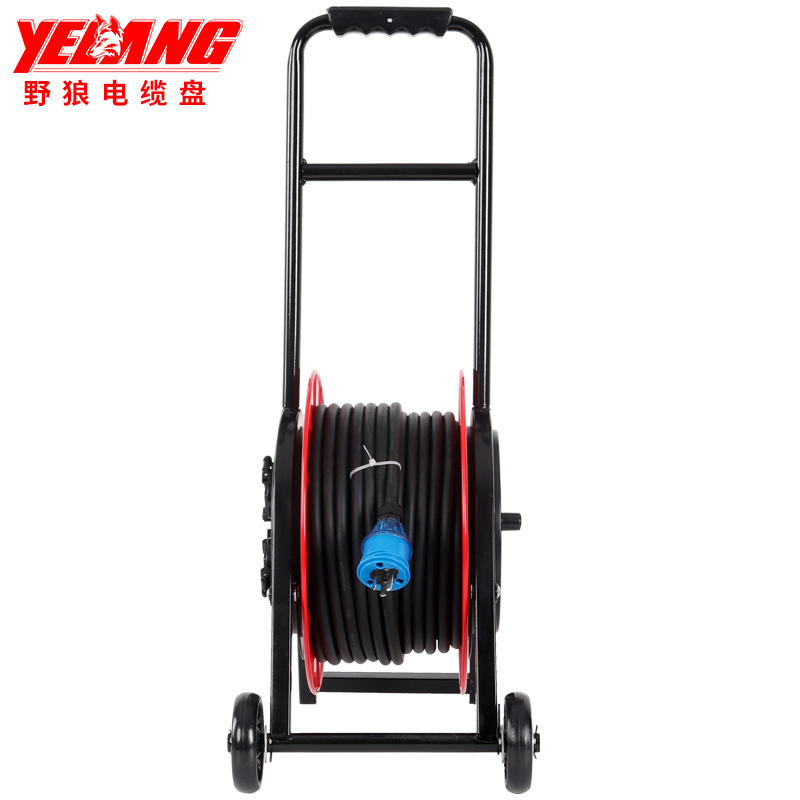 野狼YL-35CBS-0380 轮车式移动电缆盘 电缆卷盘 绕线盘带漏电带过热保护 2*1.5 -80米