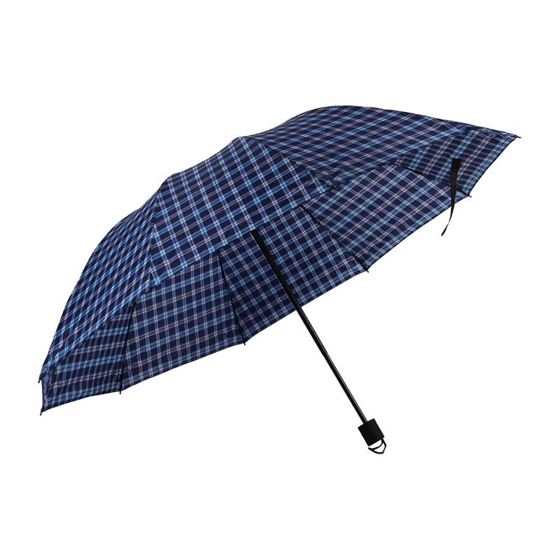 春和3753三折花伞70*10K-格子蓝