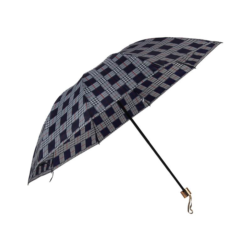 春和356三折花伞70*10K-格子黄