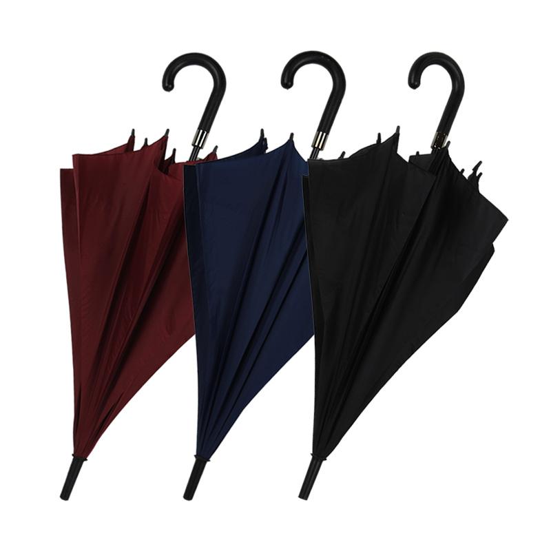 春和6008混色双骨碰起雨伞(弯把)-红色