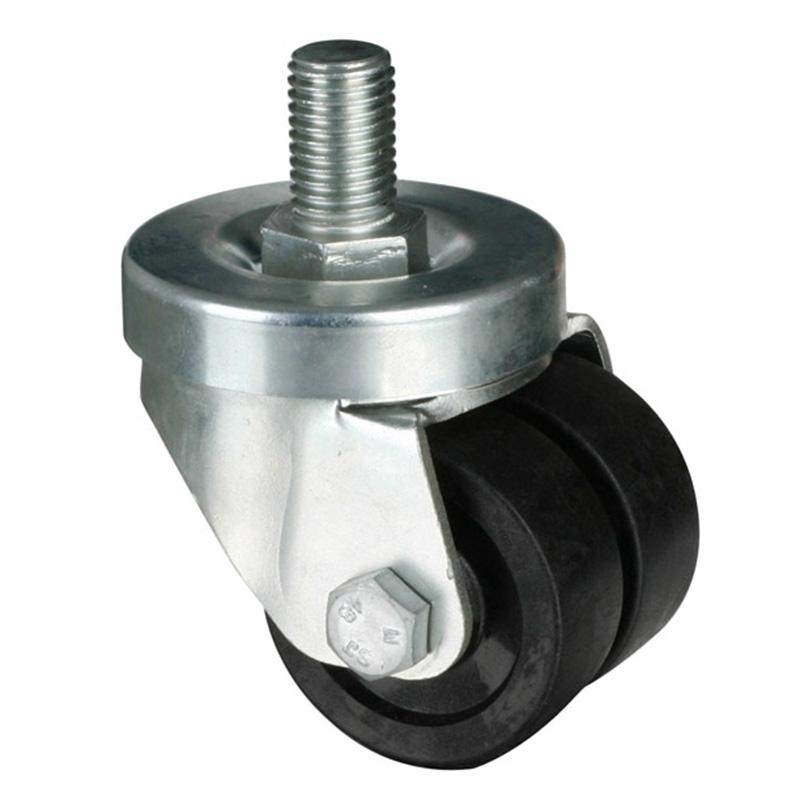 易得力(EDL) 丝口万向尼龙(PA)设备脚轮,脚轮低重心2寸180kg,M61132/M16X25-M612-13