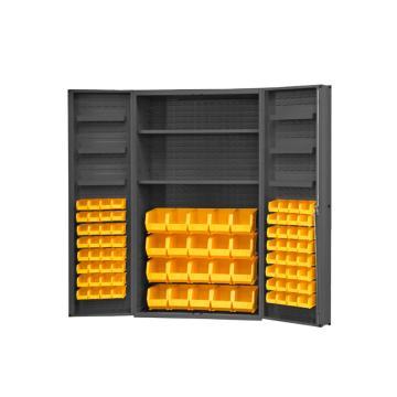 DURHAM MFG 存储柜,宽*深*高(mm):1219*610*1829,含84个物料箱、2个搁板、6个门搁板,搁板承重(KG):408