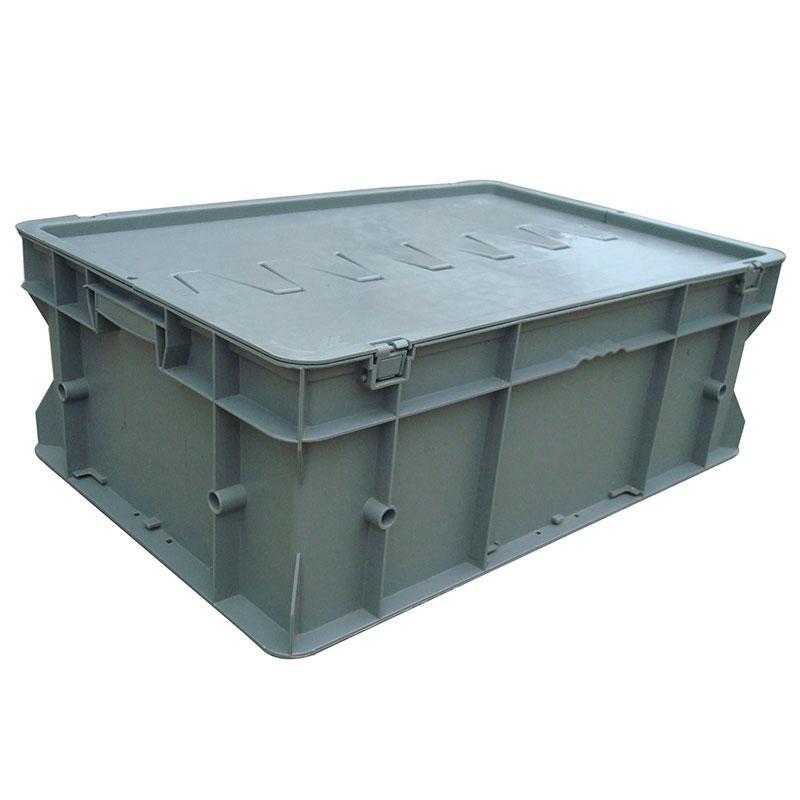 力王 F型第二代周转箱,PK-F2(带盖),外尺寸:600×400×220mm,灰色