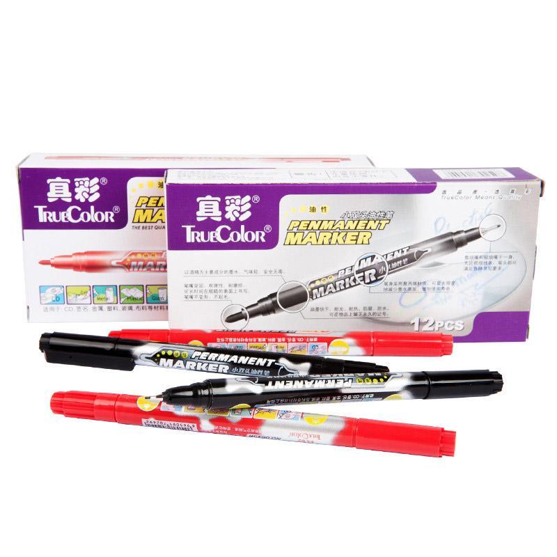 真彩 小双头油性笔,(红色)0615B,12支/盒 单位:盒(替代:EDG471)