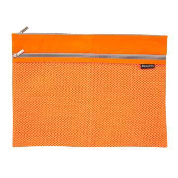 齐心 双层彩色透气收纳袋,A2254 A4 橙 单个