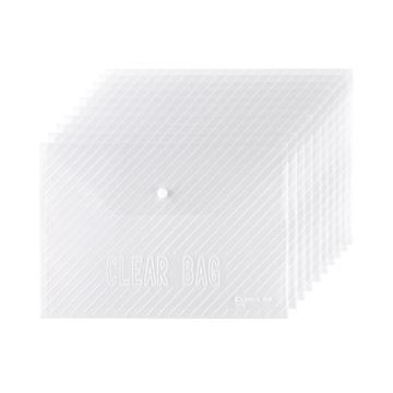 齐心 巨划算经典条纹透明按扣袋,C318 A4 20个/套 透明 单位:套