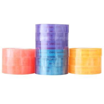 得力(deli)彩色文具胶带,透明胶带 1.2CM 12卷/筒 30024 单位:筒