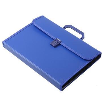齐心 易分类手提式风琴包,KF412TJ A4 12格 蓝 单个