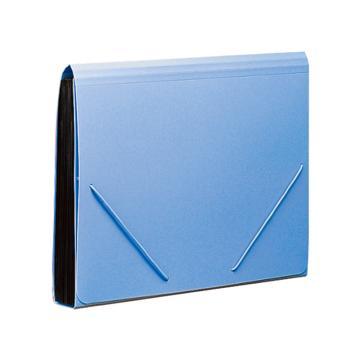 齐心 易分类松紧带式风琴包,F4302 A4 12格 蓝 单个