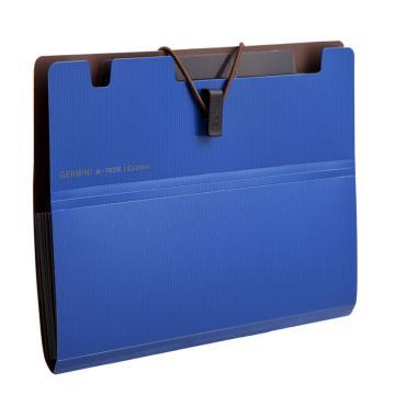 齐心 Gemini6袋风琴包,A7626 A5 蓝 单个