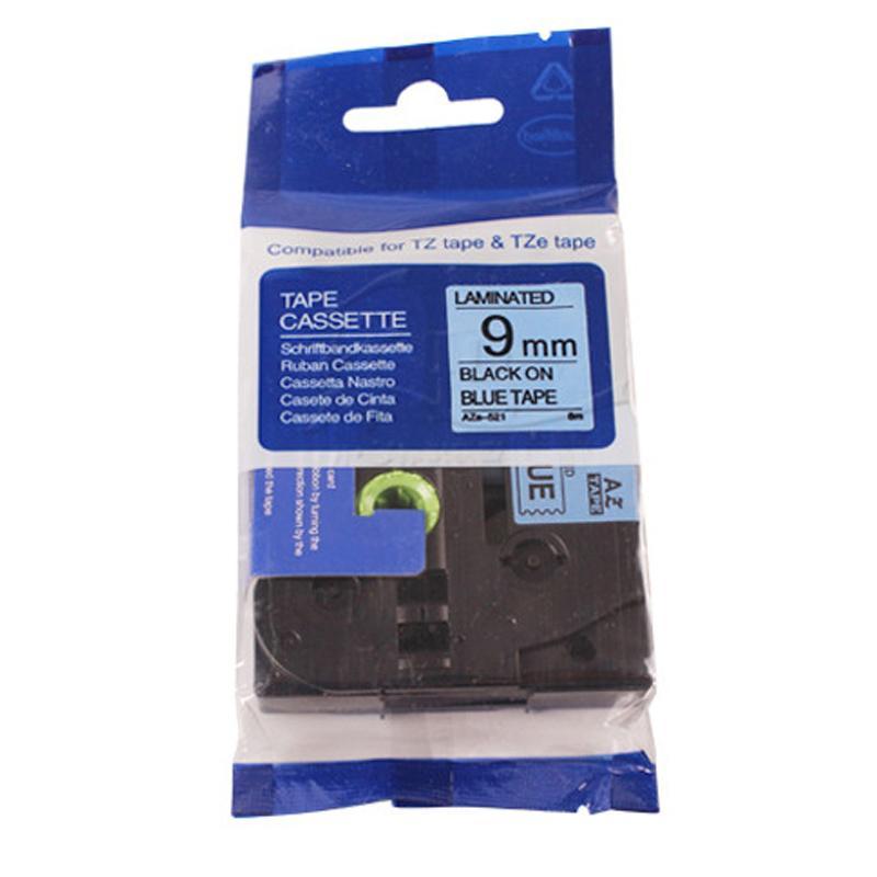 普贴 标签色带,蓝底黑字TZ2-521宽度9mm 适用于兄弟TZ系列标签机 单位:卷