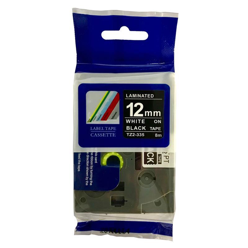 普贴 强粘性标签色带,黑底白字TZ2-335宽度12mm 适用于兄弟TZA系列标签机 单位:卷