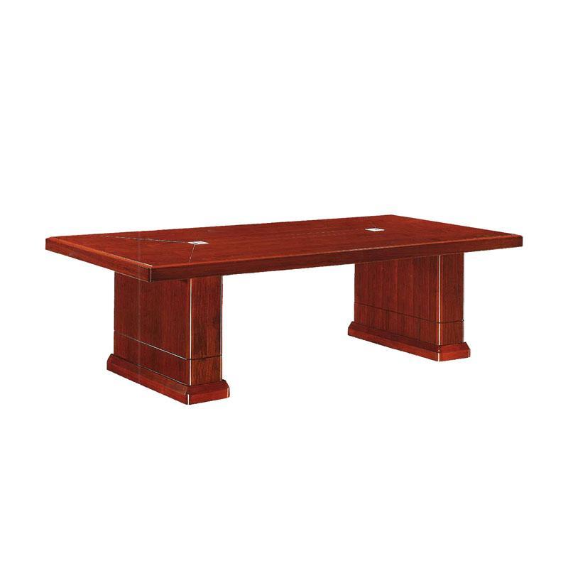 胡桃色贴木皮小型会议桌,长2.4米,宽1.2米,高0.76米