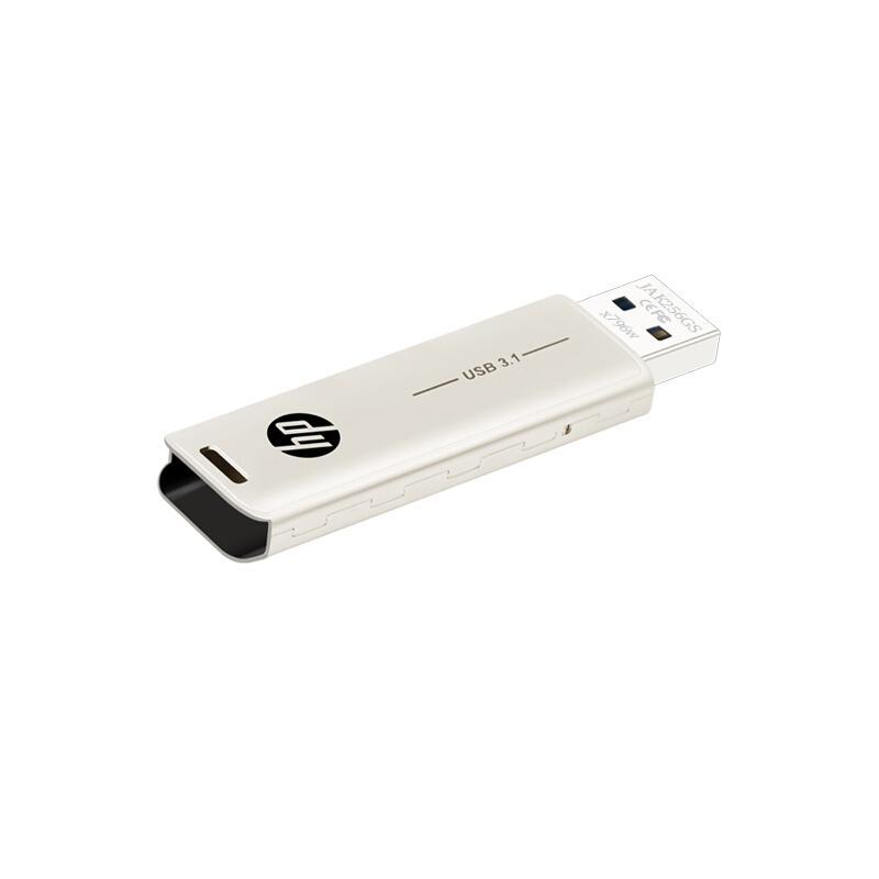 惠普U盘,X796w 128G USB3.1 香槟金 电脑车载两用优盘