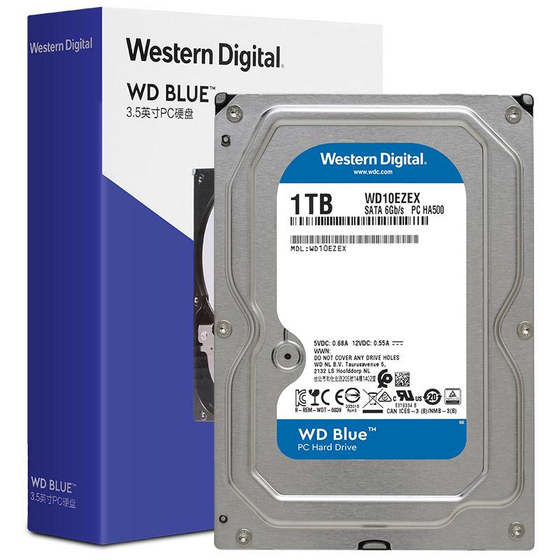 西部数据 台式机械硬盘,1TB SATA6Gb/s 7200转64MB,WD10EZEX