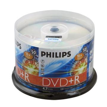 飞利浦 光盘,DVD+R 光盘 4.7G/16X(50片筒装) 银色 单位:筒