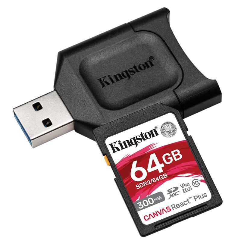 金士顿存储卡,MLPR2 64GB U3 V90 SD卡 读速300MB/s 写速260MB/s 支持8K视频 附带UHS-II读卡器