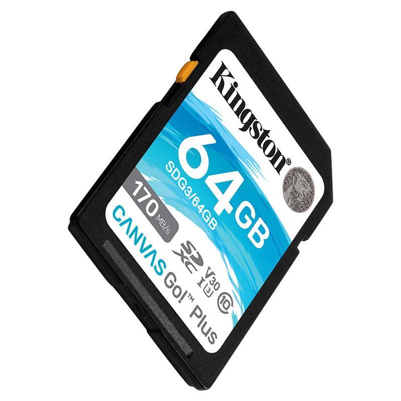 金士顿存储卡,SDG3 64GB U3 V30 SD卡 极速版 读速170MB/s 写速70MB/s 4K超高清视频 终身保固