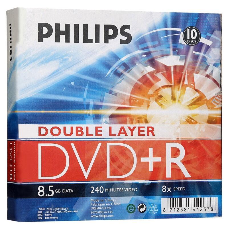 飞利浦 光盘,DVD+R 8.5/8X 10片装 空白刻录盘 单位:桶