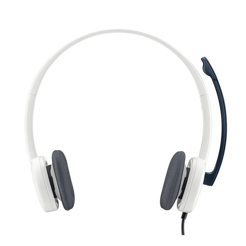罗技(Logitech)立体声耳机麦克风,H150 白色