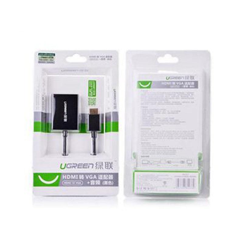 绿联(UGREEN)HDMI转VGA线转接头带音频口 高清视频转换器,电脑连接线电视投影仪适配器 40233