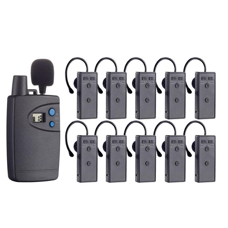 话中游无线双讲器,讲解员解说器设备导游耳麦系统 一对多 灰色 (发射器 主+副,200个接收器)套装