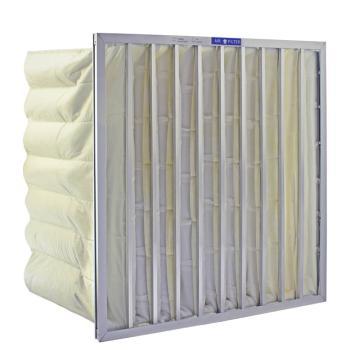 FLMFIL 镀锌板袋式中效空气过滤器,宽*高*厚度594*594*600mm,95%过滤效率F8,板厚20mm,袋数6个