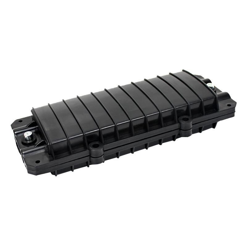 海乐 2进2出卧式光缆接头盒 12芯小D型熔接包 光纤接续盒 对接包 室外防水 黑色HT-JX-2D