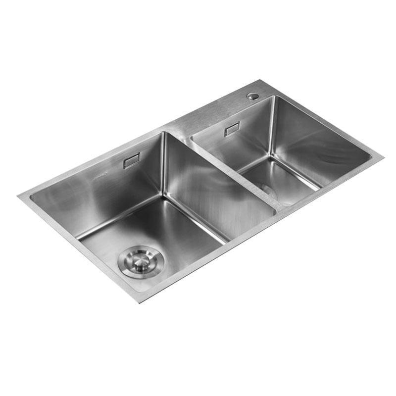 九牧 不锈钢加厚双槽水槽,槽体规格:780*450*220,06159-7Z-1