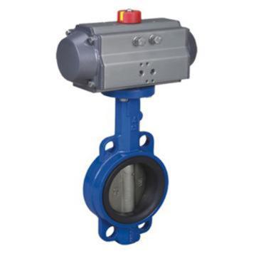 远大阀门 铸铁对夹气动蝶阀,D671X-16,DN250,双作用执行器,带三联件,请提供三联件电压