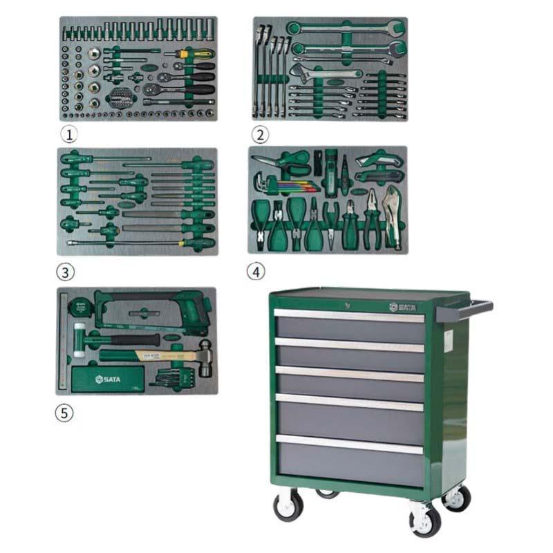 世达SATA 176件生产维修综合组套(含5抽屉工具车) 09951