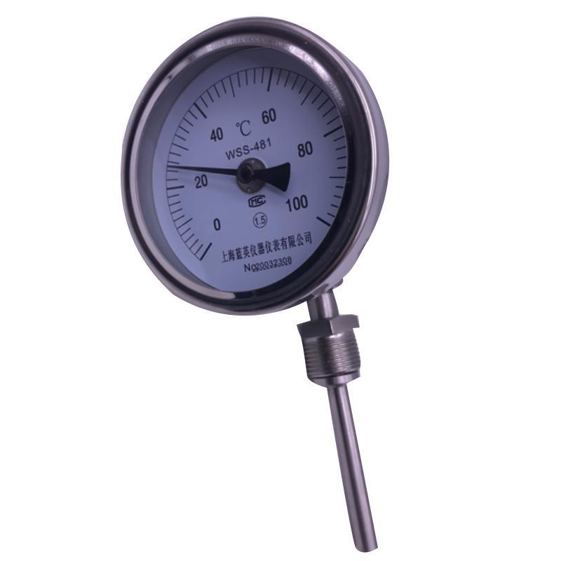 新明辉推荐 不锈钢万向双金属温度计,WSS-481 0-100度 L=175MM M27*2 直径5MM 1.6级 可动外螺纹