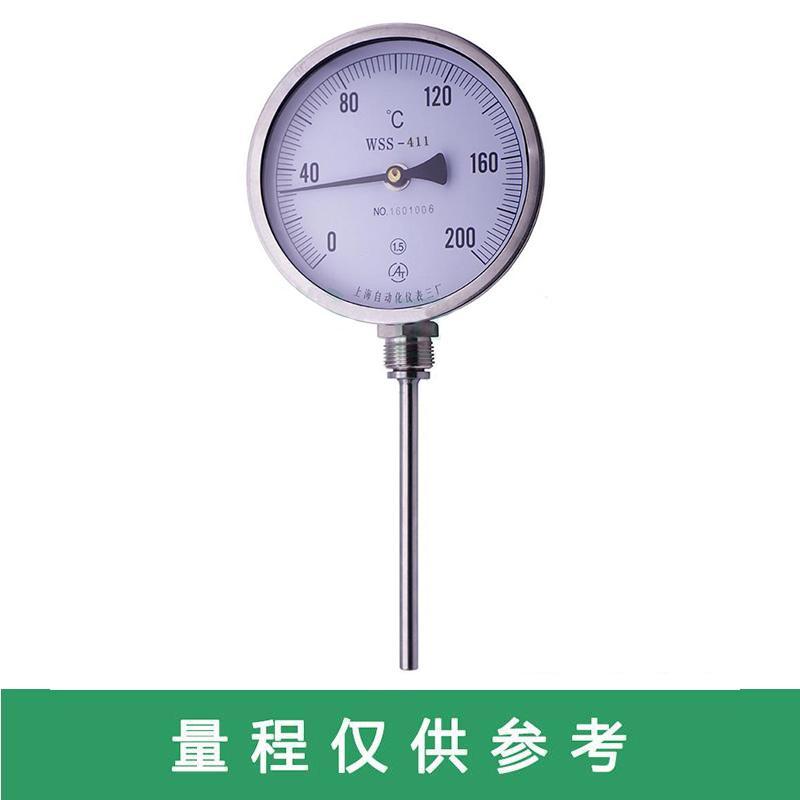 上仪 双金属温度计,WSS-483 0-300度 G1/2 L=100MM