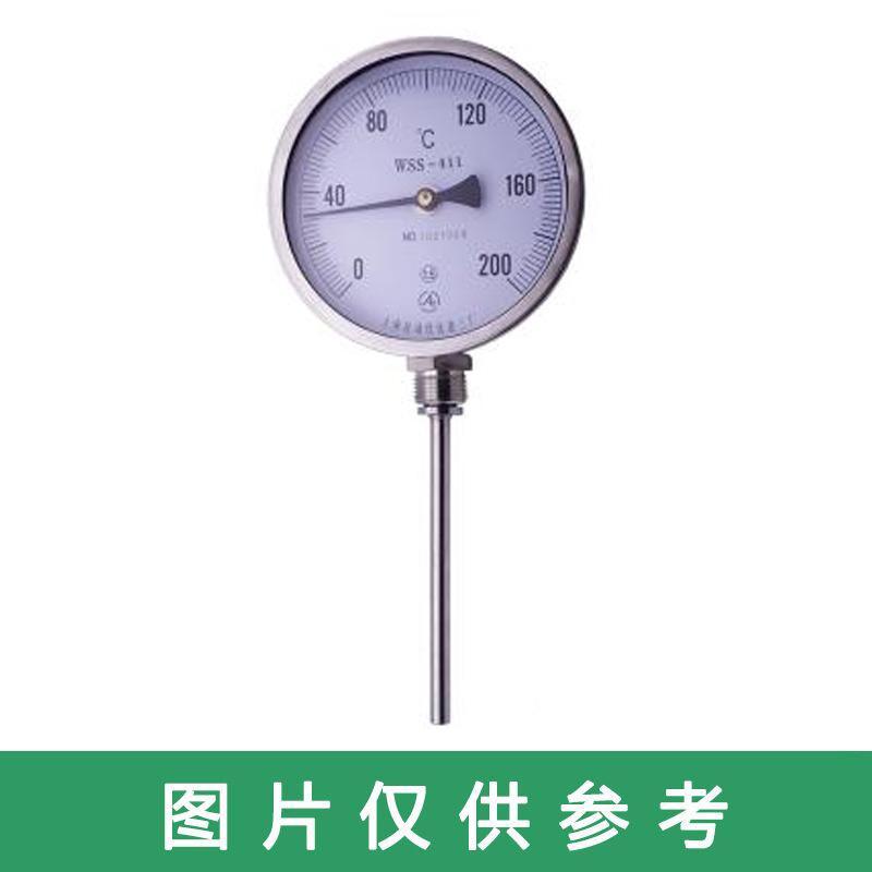 新明辉推荐 不锈钢双金属温度计,WSS-411 径向 0-100度 M27*2 直径10MM L=250MM 配套管 精度1.0级
