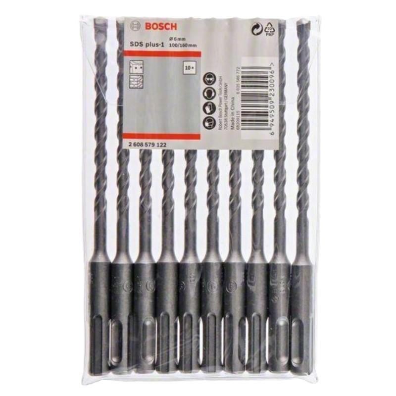博世四坑1系电锤钻头,6mm×160mm,10支装,2608579122