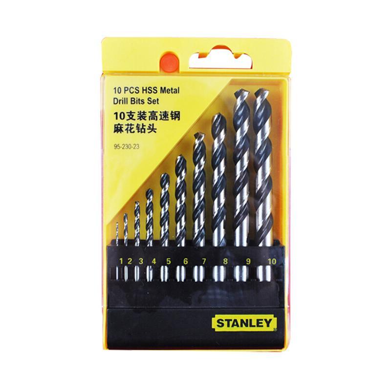 史丹利STANLEY 高速钢麻花钻头组套 10件套 95-230-23 直柄麻花钻套装手电钻钻头套装钻咀套装