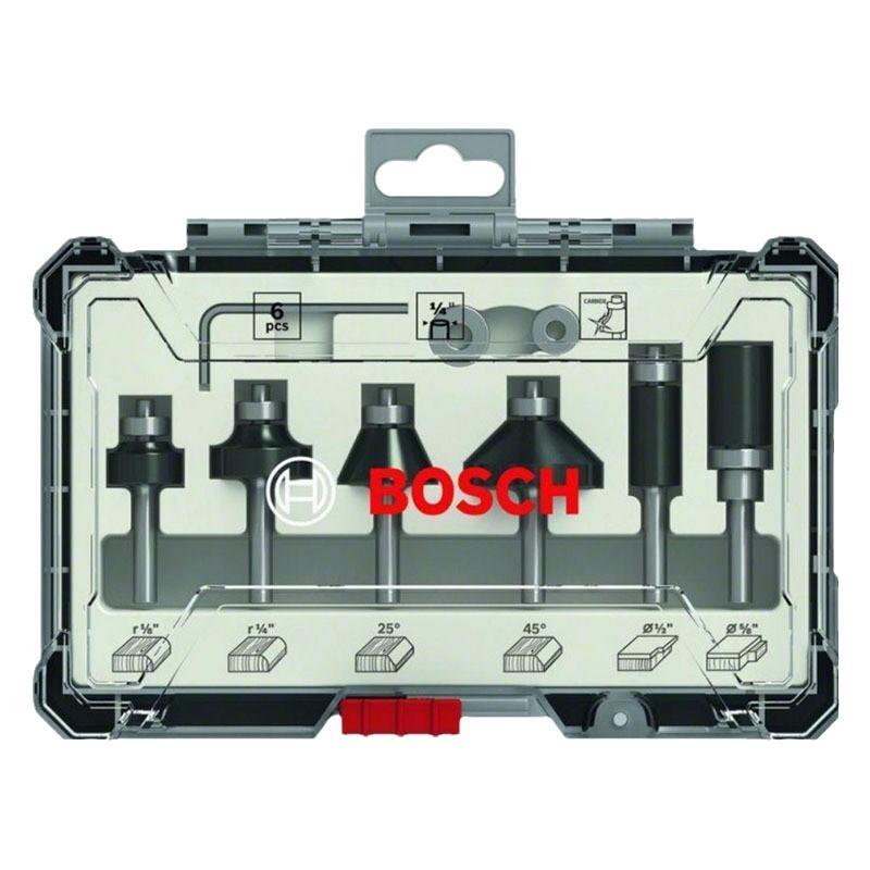 博世Bosch 木工铣刀 修边刀6件套装 1/4柄 2607017470