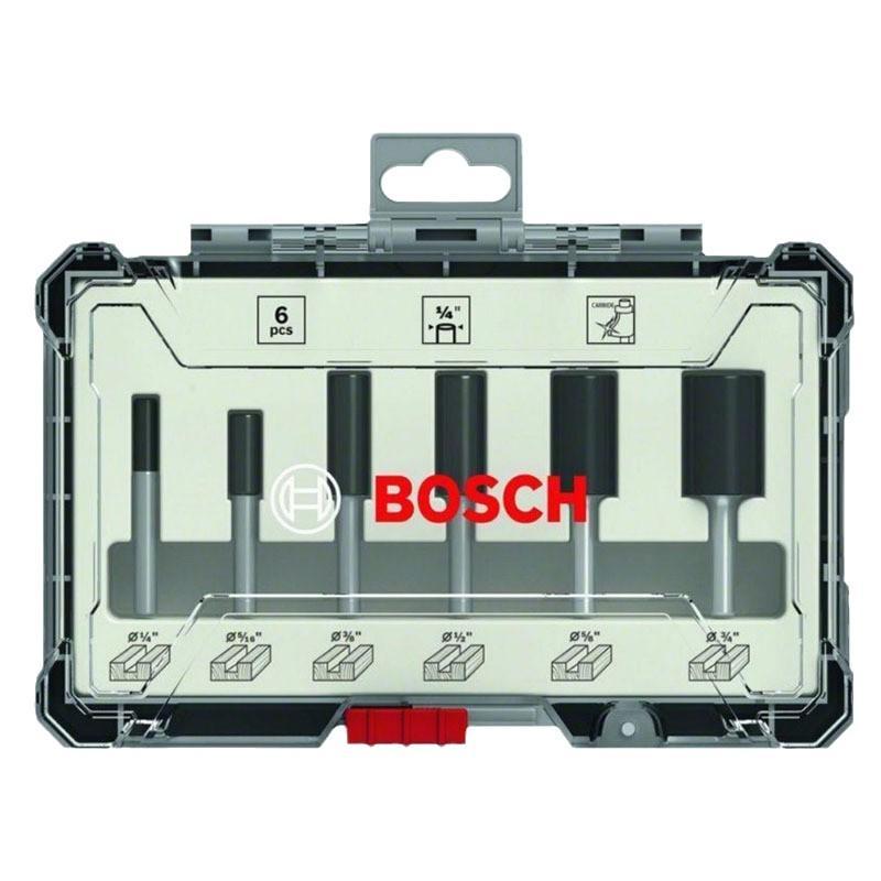 博世Bosch 木工铣刀 6件直刀套装 1/4柄 2607017467